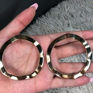 Vintage Gold Hammered Hoops!
